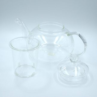 Glass Tea Pot view of pot and infuser with lid