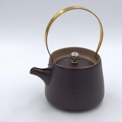 Metal Handle Tea Pot side view