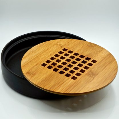 Ceramic and Bamboo Tea Boat view of inside