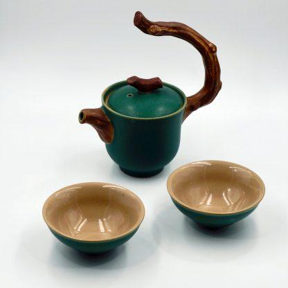 Twig Handle Tea Pot with cups