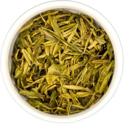 Organic Long Jing wet leaf view
